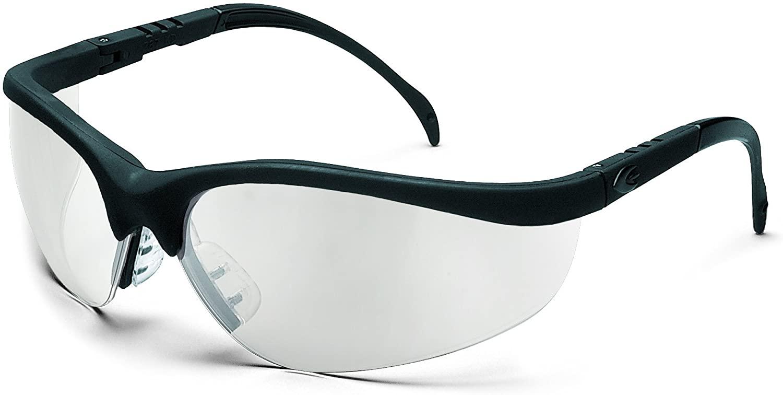 MCR Safety KD119AF Klondike Safety Glasses with Black Matte Frame and Indoor/Outdoor Clear Mirror Anti-Fog Lens