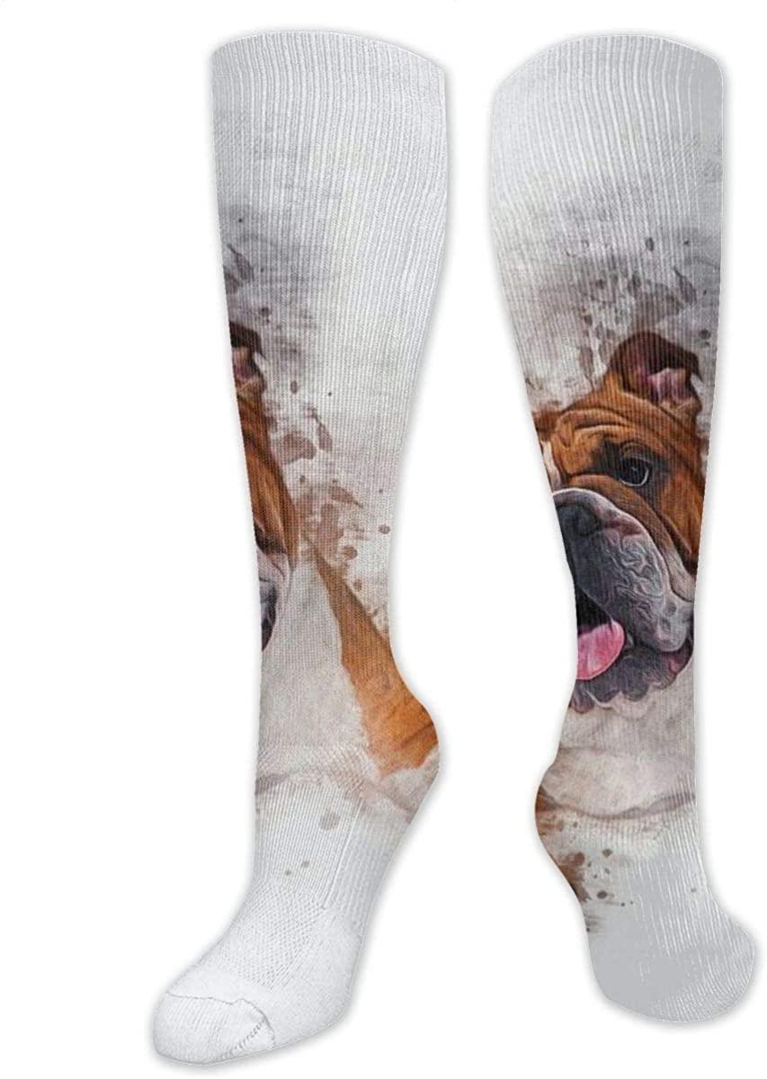 Men Lady Knee High Socks British Bulldog English Boot Long Hose Hiking Stockings