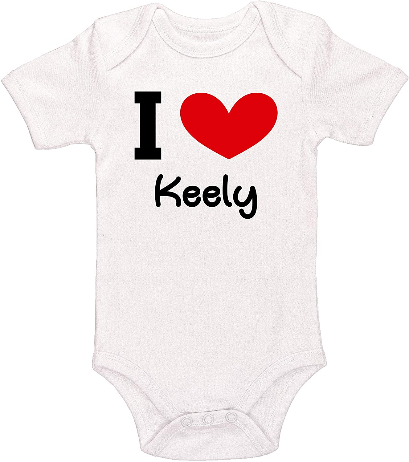 Kinacle I Love Keely Personalized Baby Bodysuit