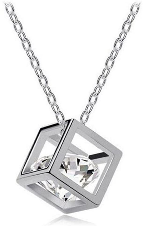 Ruhiku GW Necklaces & Pendants, Women Chain Crystal Rhinestone Square Pendant Alloy Necklace Jewelry (A)