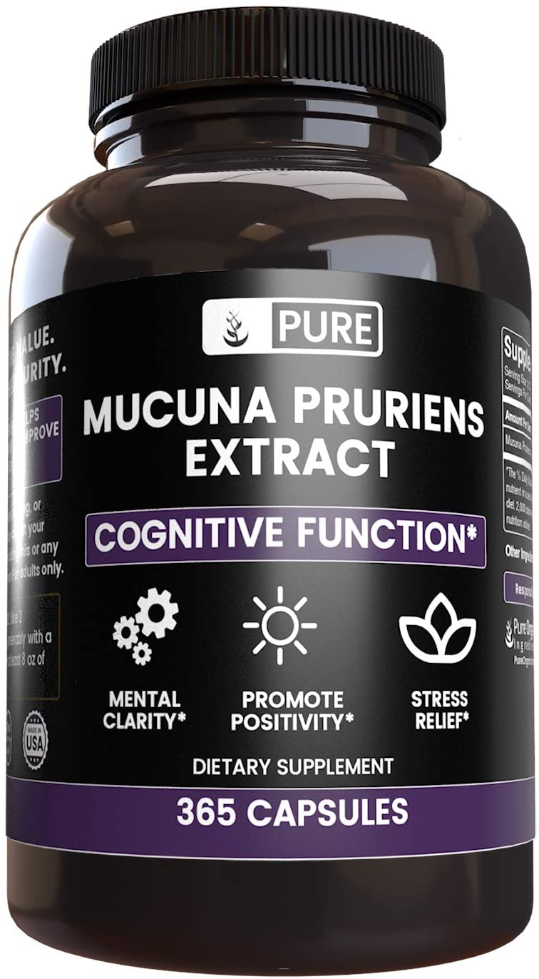 Natural Mucuna Pruriens, 365 Capsules, 1000 mg Servings, 6-Month Supply, Gluten-Free & Non-GMO, No Stearate or Rice Filler, Lab-Tested for Purity, Made in The USA