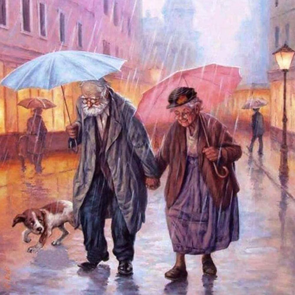 BoutiQ Diamond Painting Square Full Drills - Old Couple in The Rain, DIY 5D Resin Beads Paint by Number Kits for Adults Puzzle Picture Home Decoration Wall Decor Stress Relief Arts Craft
