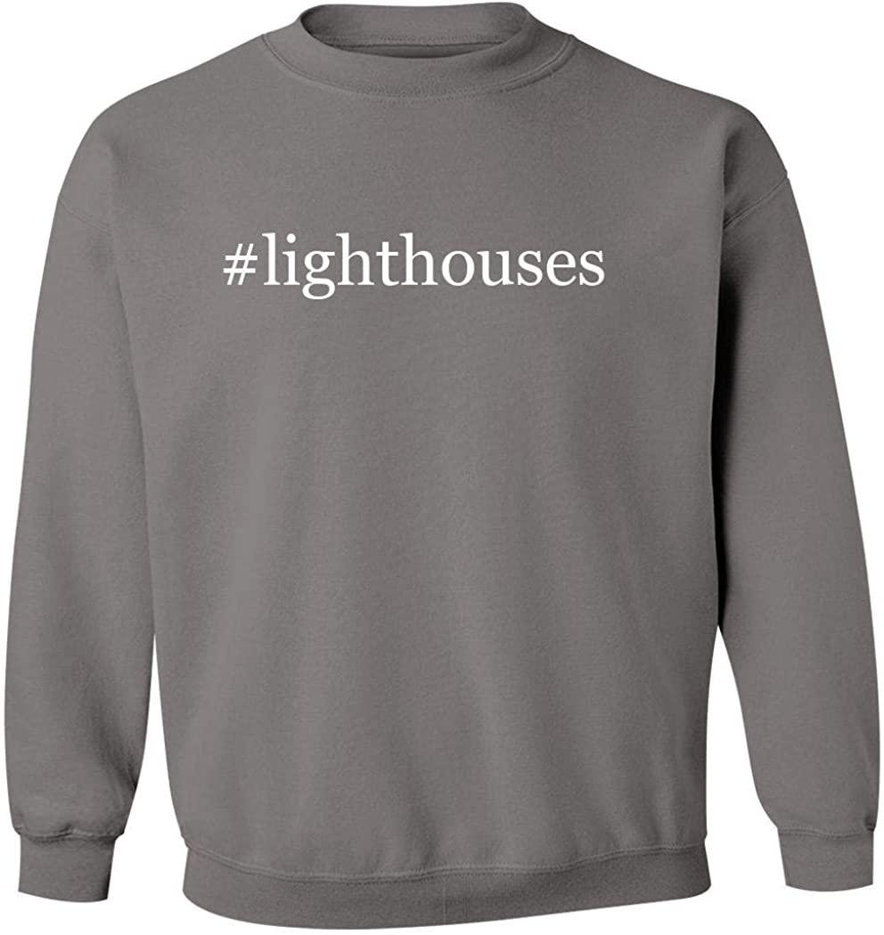 #lighthouses - Men's Hashtag Pullover Crewneck Sweatshirt, Grey, XXX-Large