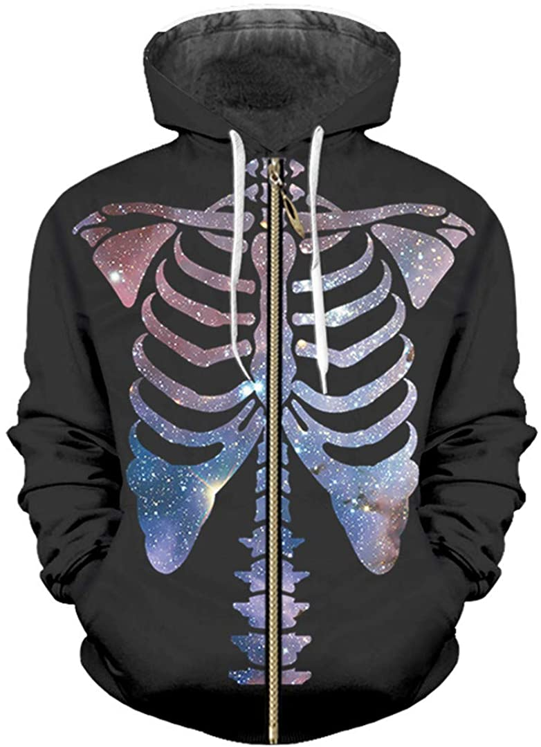 Man 3D Printed Zip Hoodies Starry Sky Skeleton Trend Hip Hop Loose Zipper Coat