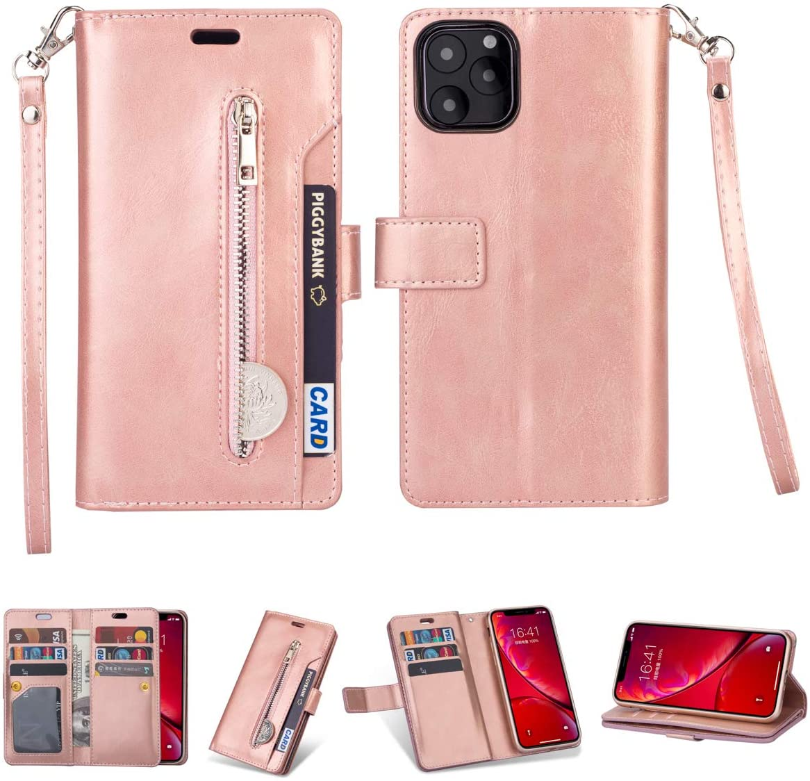 standardrich iPhone 11 Pro maxCase, iPhone 11 Pro max Wallet Case with RFID Blocking Viewing Stand Card Slots Magnetic Closure PU Leather Flip Cover Compatible with iPhone 11 Pro 2019 6.5. (Rose Gold)