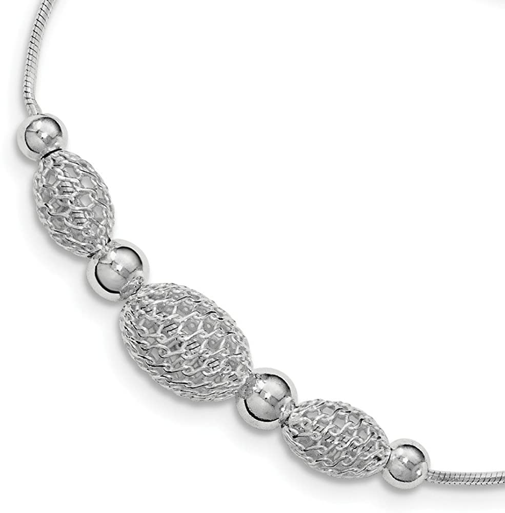 Solid 925 Sterling Silver Large Filigree Beads Unique Chain Necklace - with Secure Lobster Lock Clasp