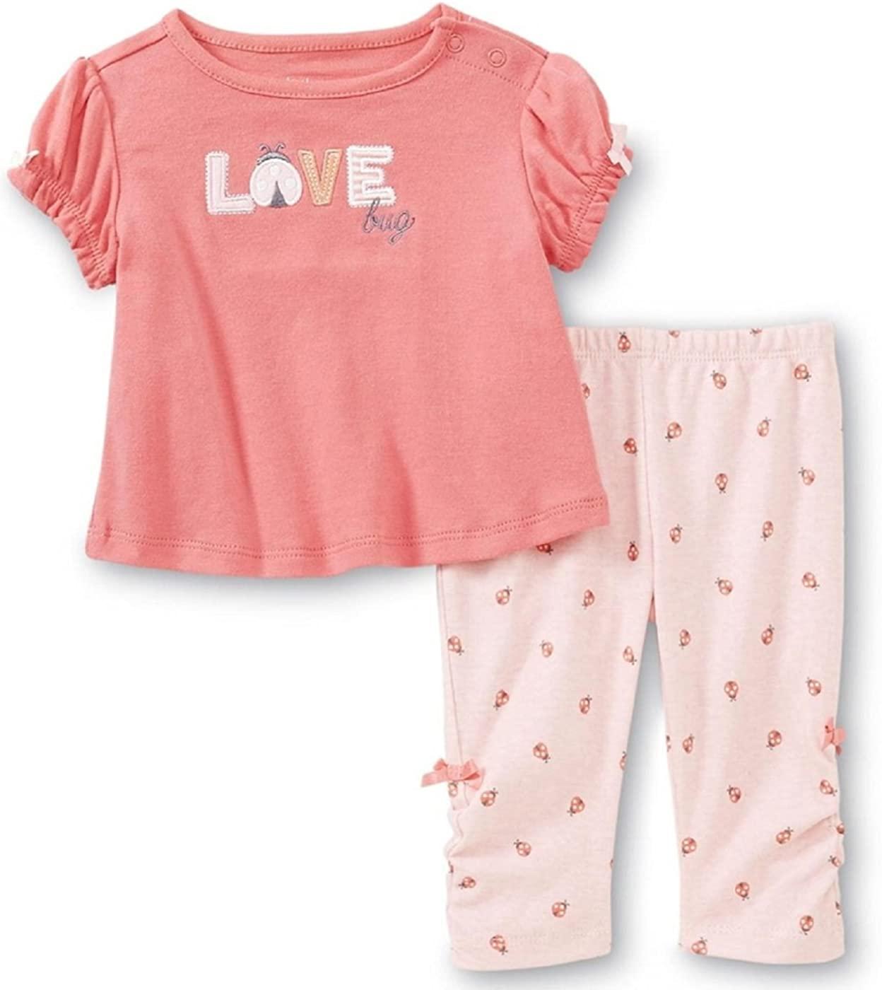 Baby Girl Coral & Pink Love Bug Short Sleeve top & Leggings Set