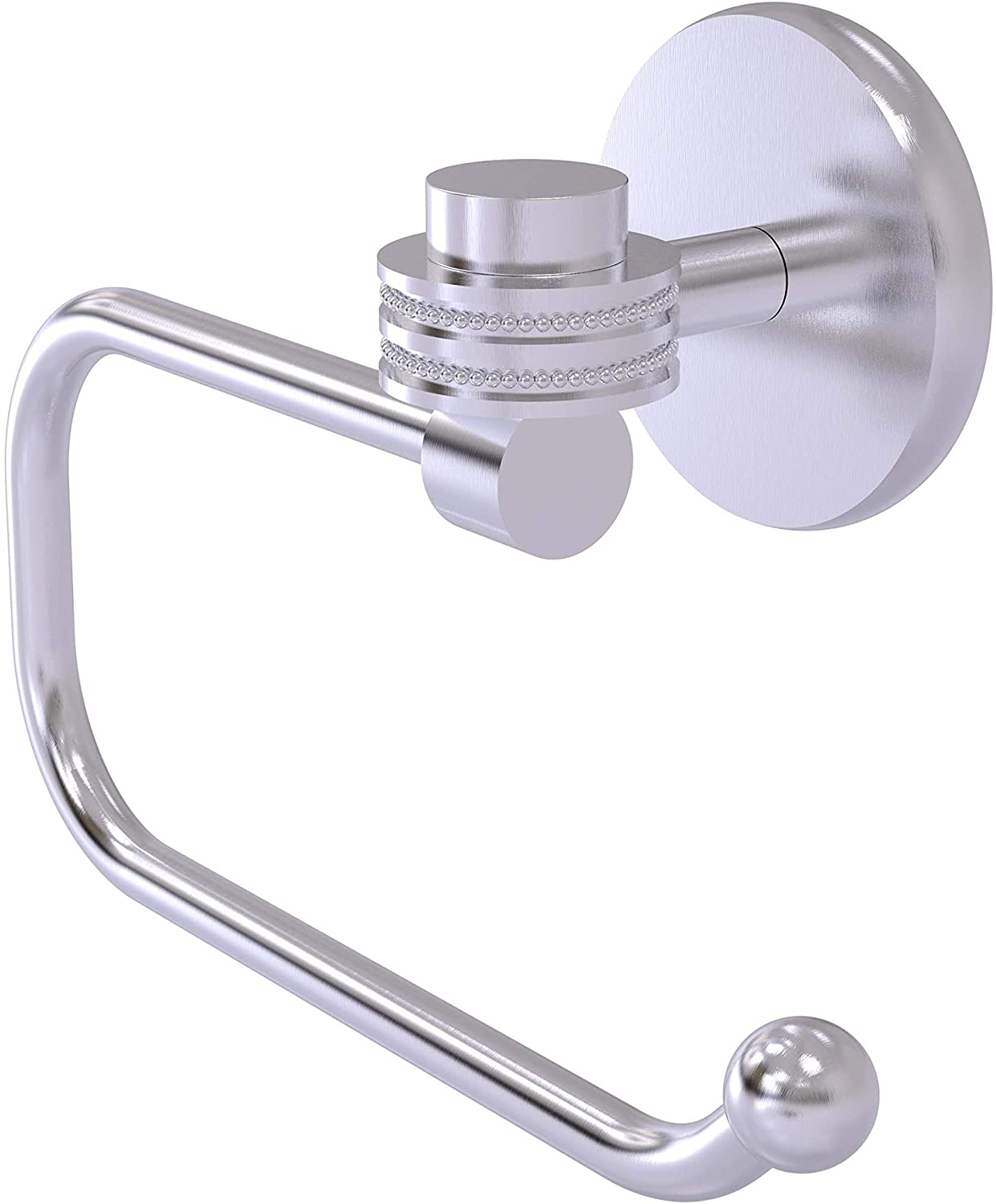 Allied Brass 7124ED-SCH Satellite Orbit One Collection Euro Style Tissue Dotted Accents Toilet Paper Holder, Satin Chrome
