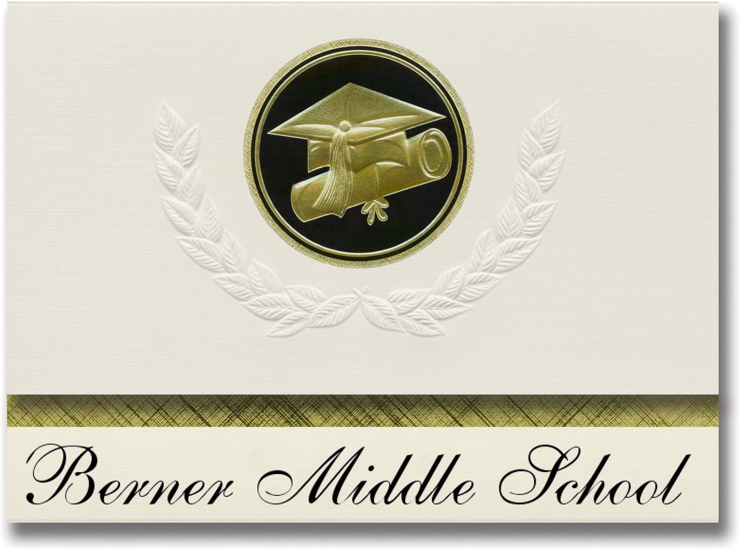 Signature Announcements Berner Middle School (Massapequa, NY) Graduation Announcements, Presidential style, Basic package of 25 Cap & Diploma Seal. Black & Gold.