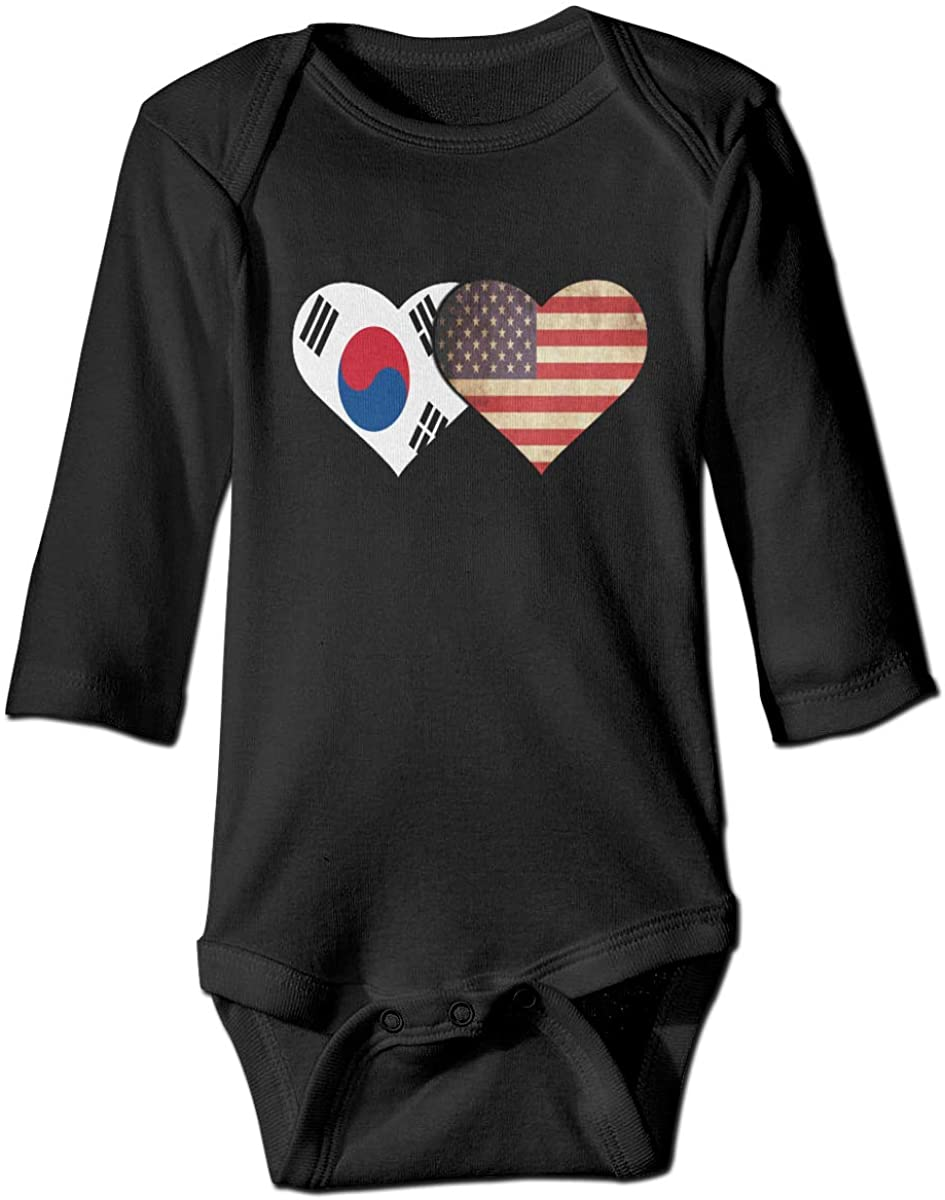 YOIGNG South Korea and American Flag Unisex Baby Bodysuit Infant Cotton Outfits Long Sleeve Jumpsuit