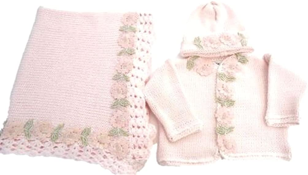 Knitted Pink Cotton Girls Cardigan Hat Set and Matching Blanket (18-24mo)