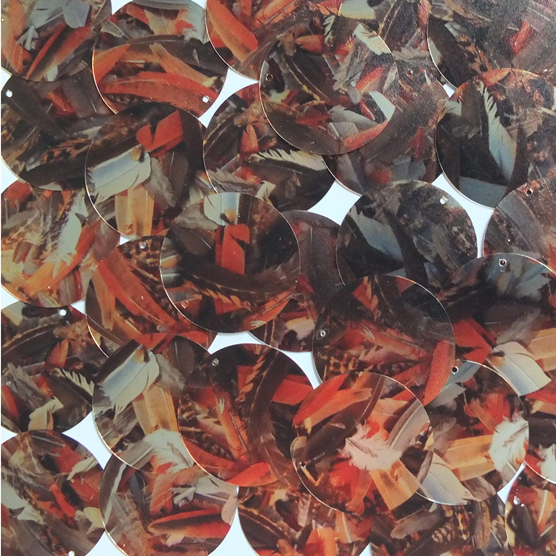 Sequin Round 30mm Orange Silver Bird Feathers Print Metallic
