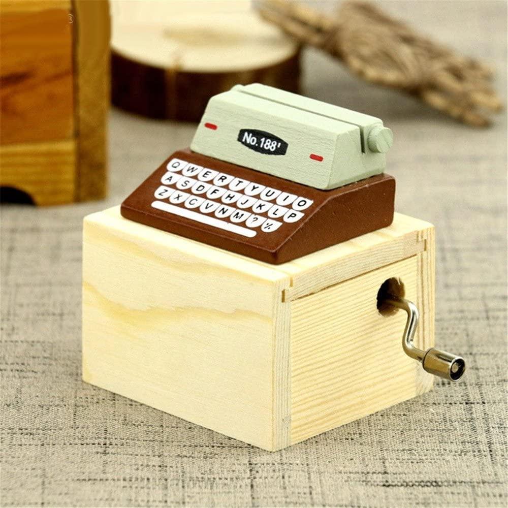 Biscount Creative Retro Brown Hand Crank Musical Box Home Decoration Craft Old Style Wood Typewriter Machine Music Box - brown