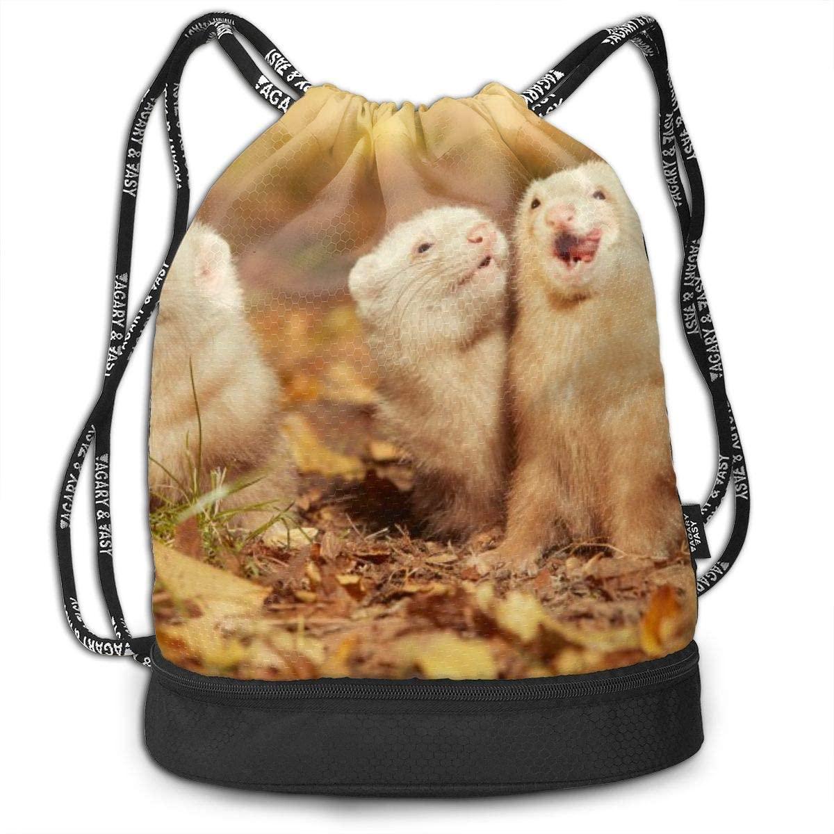 Bundle Backpacks Ferret Group Gym Sack Drawstring Bags Casual Daypack Yoga Bag School Training Pouch