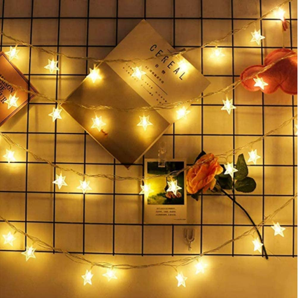 GGKLY LED Five-Point Star Curtain Light, Five-Point Star Light, 220V, Suitable for Christmas/Halloween/Wedding/Party Background, There are 8 Lighting Modes (Warm Light, Solid Light)