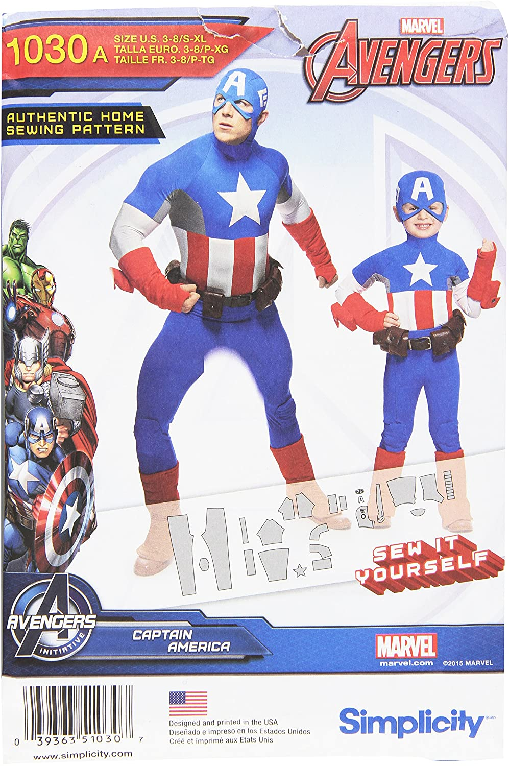 Simplicity Creative Patterns US1030A Boys and Men's Captain America Costume, Size A (3-8/S-XL)