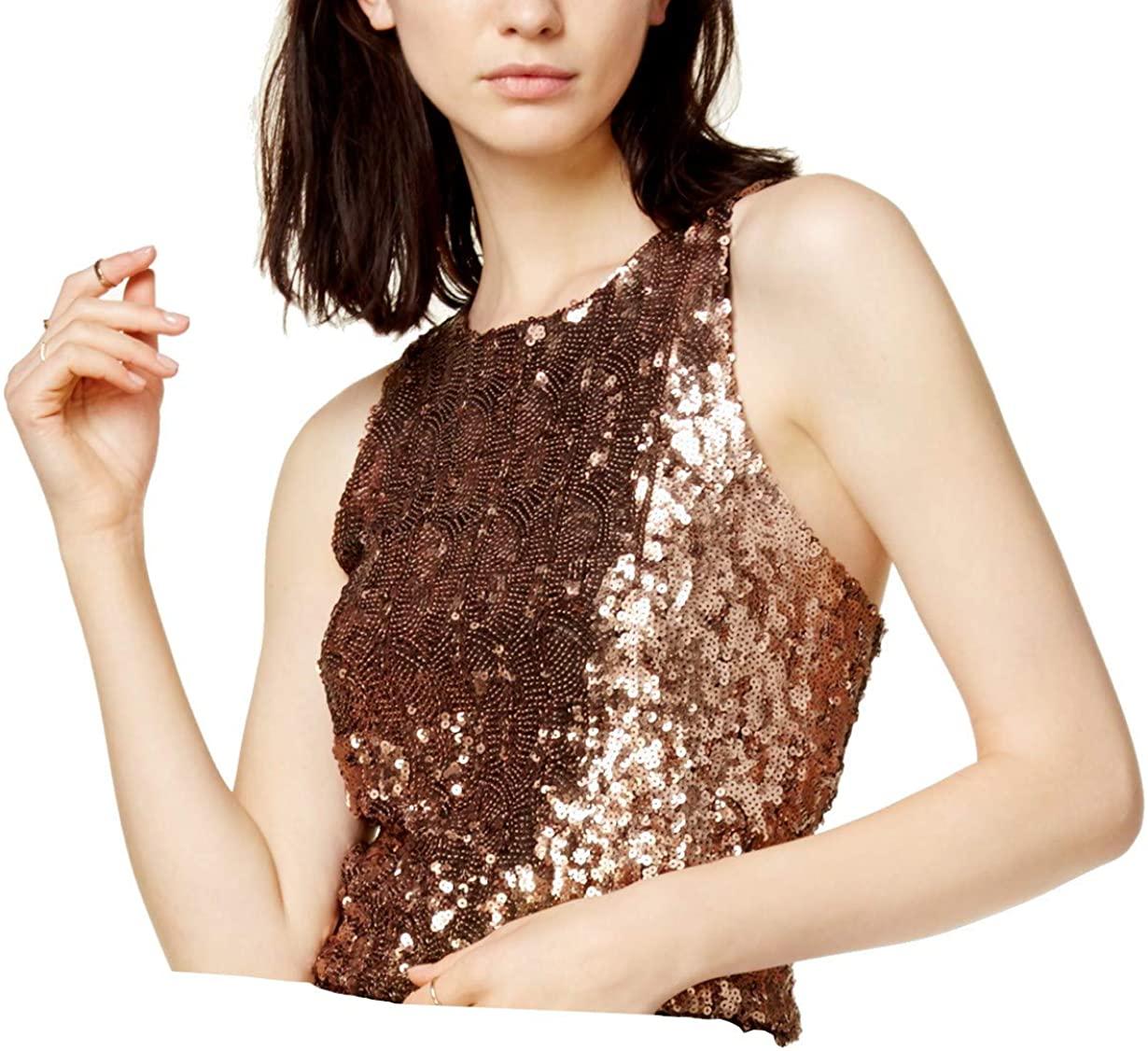 Bar III Womens Sequined Sleeveless Crop Top