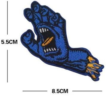 Christmas Scream Blue/Yellow Hand Embroidery Patch Military Tactical Morale Patch Badges Emblem Applique Hook Patches for Clothes Backpack Accessories