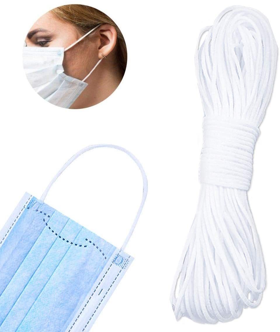Elastic Band, 20 Yard 1/8 Inch Wide Elastic String Cord Bands Rope for Face Mask Making, Sewing Craft
