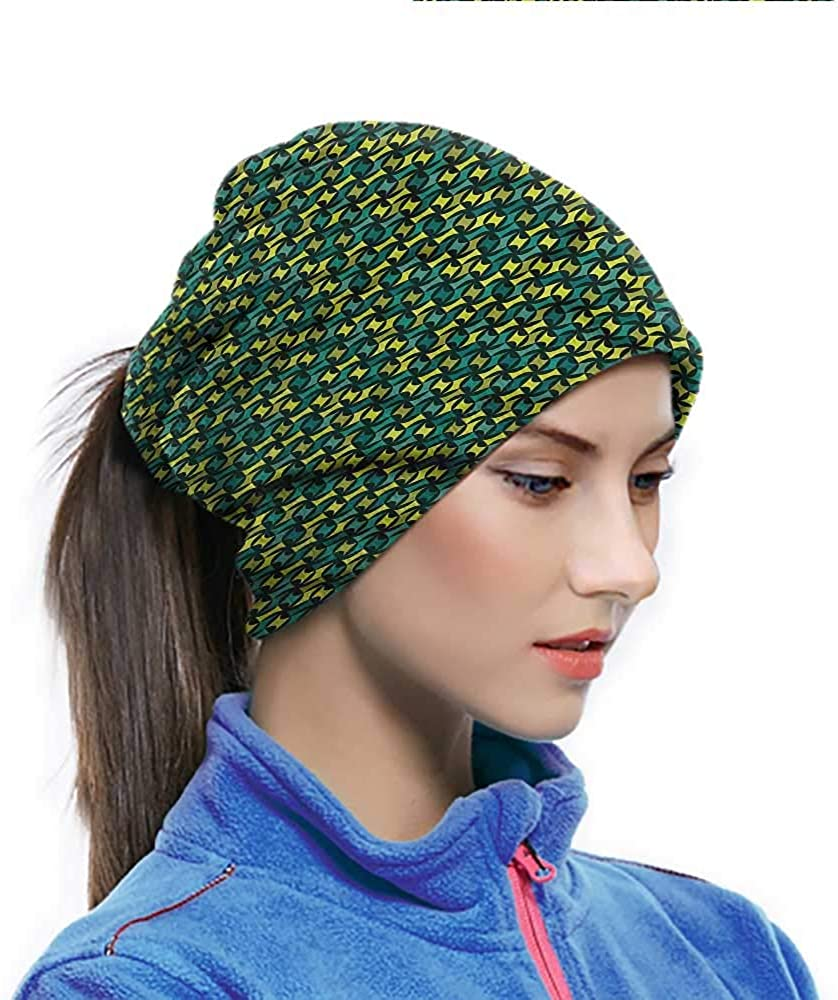 Sun Hat Abstract, Green Toned Shapes Breathable Face Cover Protect You From the Elements 10 x 11.6 Inch