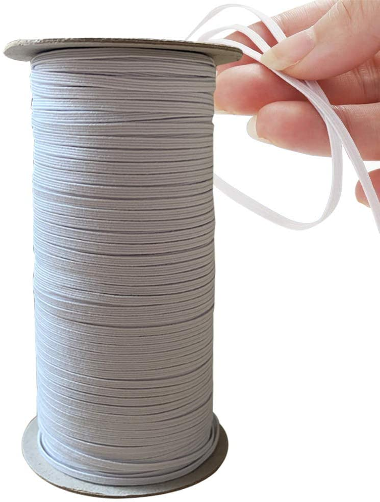 Elastic Band Braided Elastic Cord Band Spool for Sewing and Crafting (White, 1/8IN,130YD)