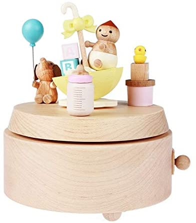 JianMeiHome Music Box Music Boxes Musical Box Handmade Wooden Music Box Children Rotating Music Box Kids Birthday Gift (Color : Wood, Size : 1013.5cm)