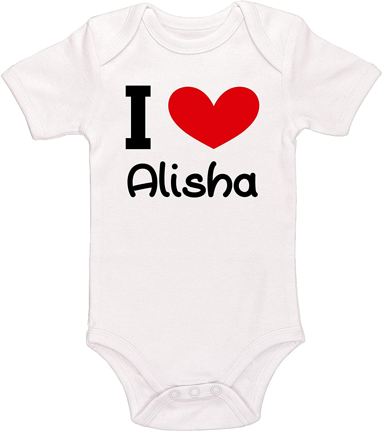 Kinacle I Love Alisha Personalized Baby Bodysuit