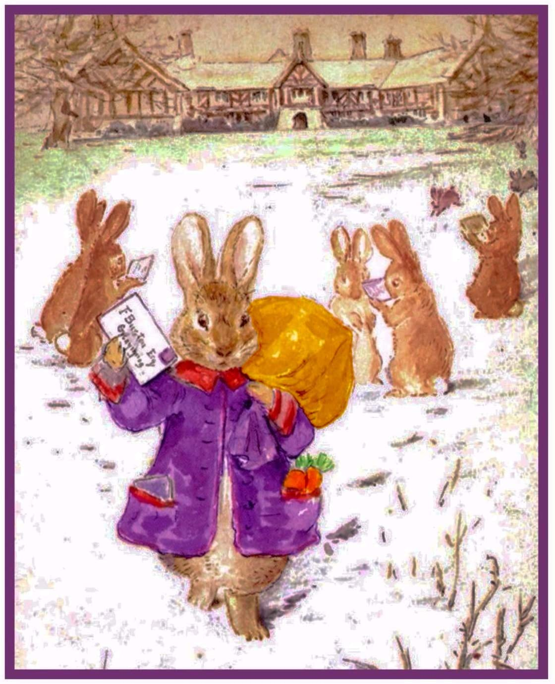 Peter Rabbit Delivers Christmas Cards Inspired by Beatrix Potter Counted Cross Stitch Pattern