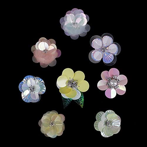 5pieces Sequins Flower Craft Beaded Crystal Patches 3.5cm3.5cm Applique Clothes Decorated For Hairband Hat Accessories TH498