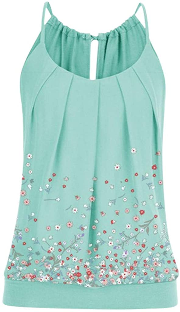 NREALY Women's Summer Floral Vest Top Sleeveless Casual Tank Blouse Tops T-Shirt