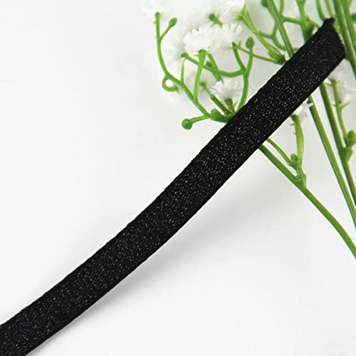 10yards Elastic Stretch 10mm Glitter Black Webbing Ribbon Tape Trim Applique Sewing Supplies for Clothes Bra Strap Belt T1094