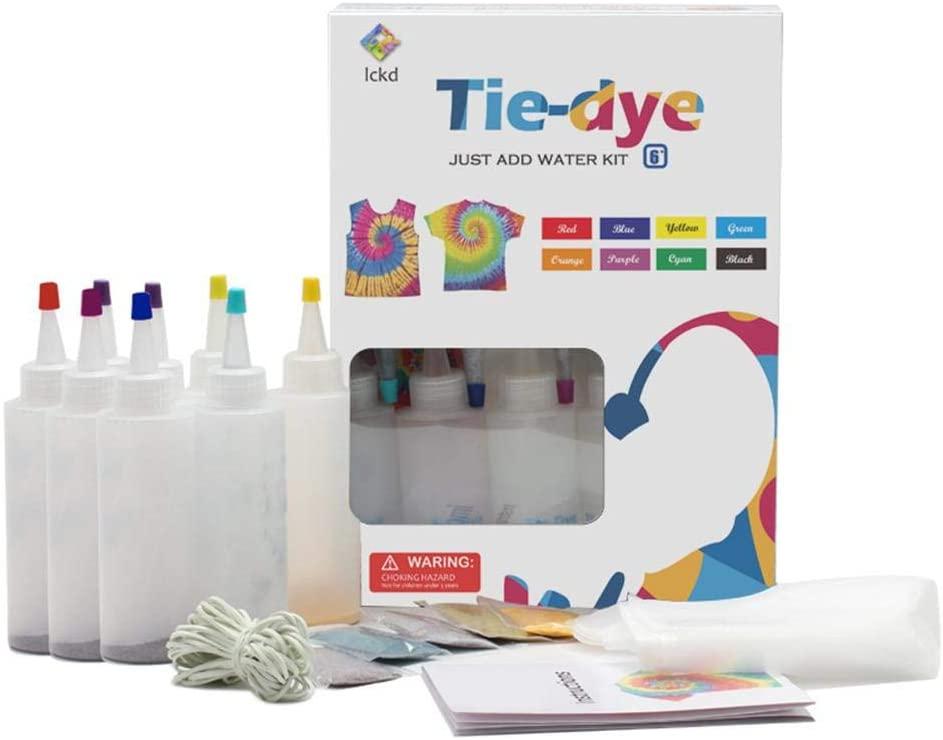 wovemster Tie Dye Kit - DIY Tie-Dye Kit Fabric Textile Paints with Rubber Bands Gloves, Safe Non-Toxic Shirt Fabric DIY Fashion Dye Kit Clothing Graffiti Dye Supplies for Family Entertainment