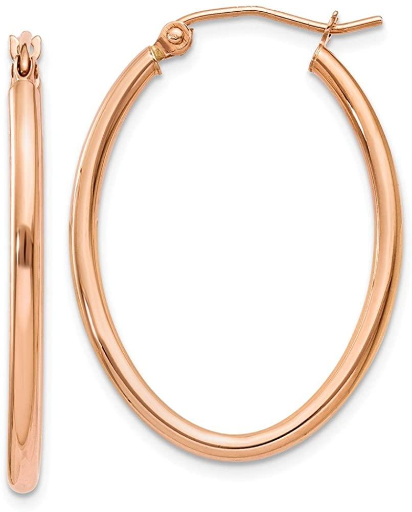 14k Rose Gold Oval Hoop Earrings TF594