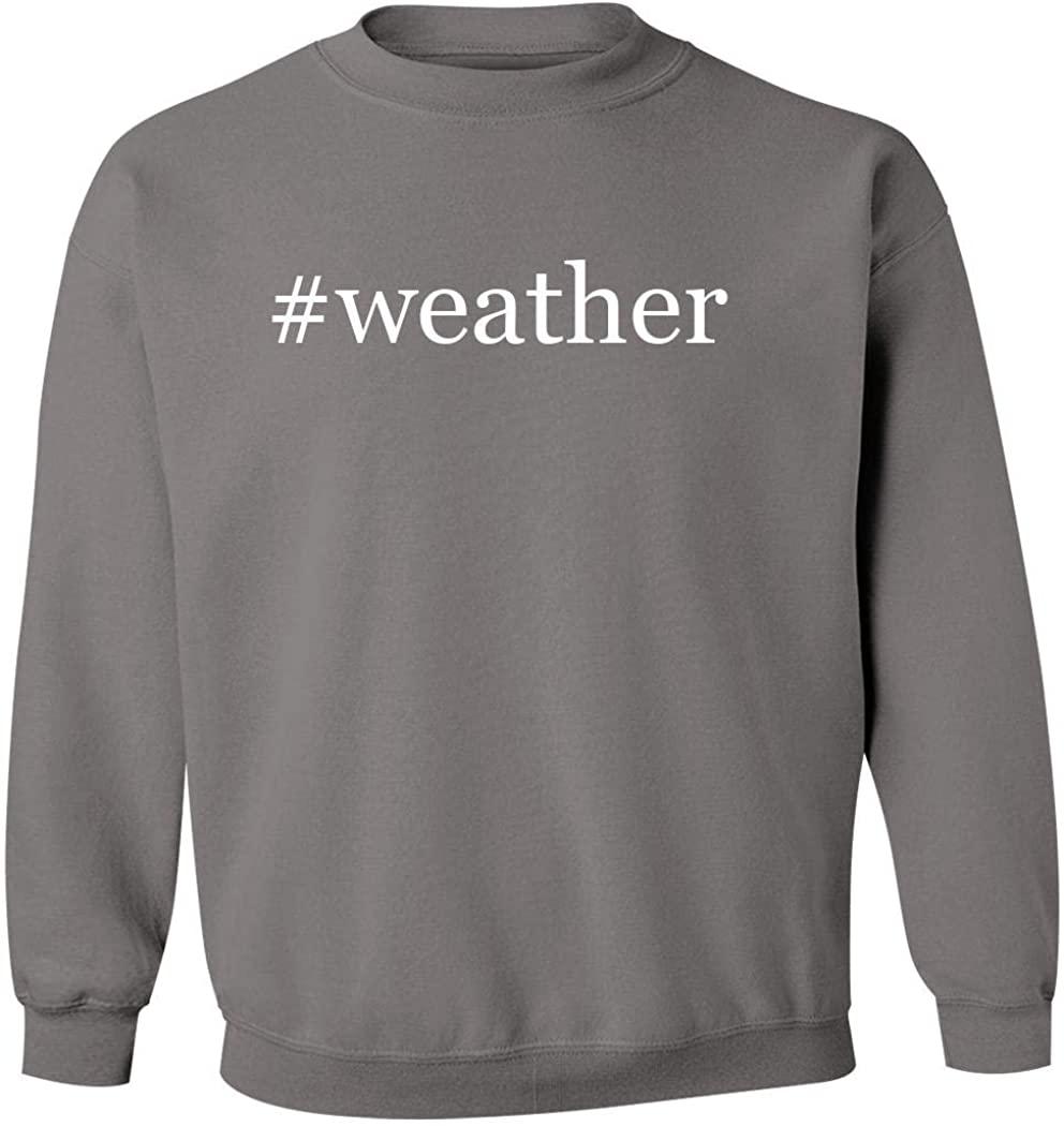 #weather - Men's Hashtag Pullover Crewneck Sweatshirt, Grey, Large