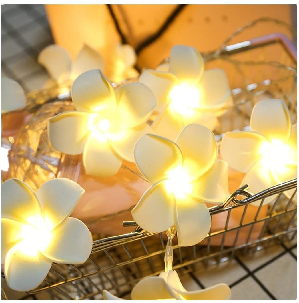 Highpot 10-LED String Light Artificial Plumeria Flower Battery Powered Fairy Starry Lights for Home Beach Party Wedding