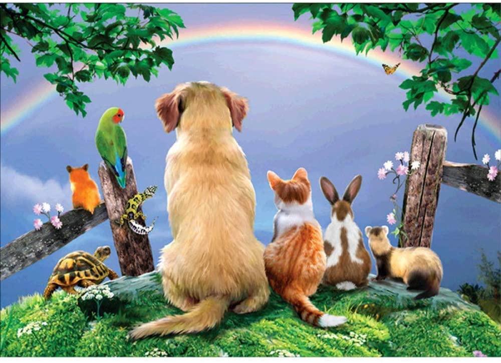 DCPPCPD 5D DIY Diamond Painting,Rainbow Animal Dog cat Kits for Adults Full Drill Crystal Rhinestone Embroidery Cross Stitch Arts Craft Canvas