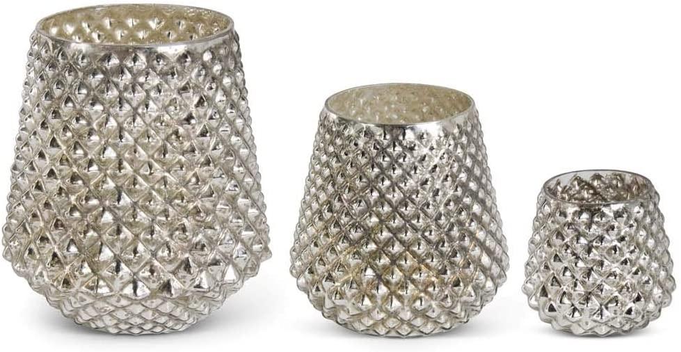 K&K Interiors 53806A Set of 3 Mercury Glass Honeycombvases