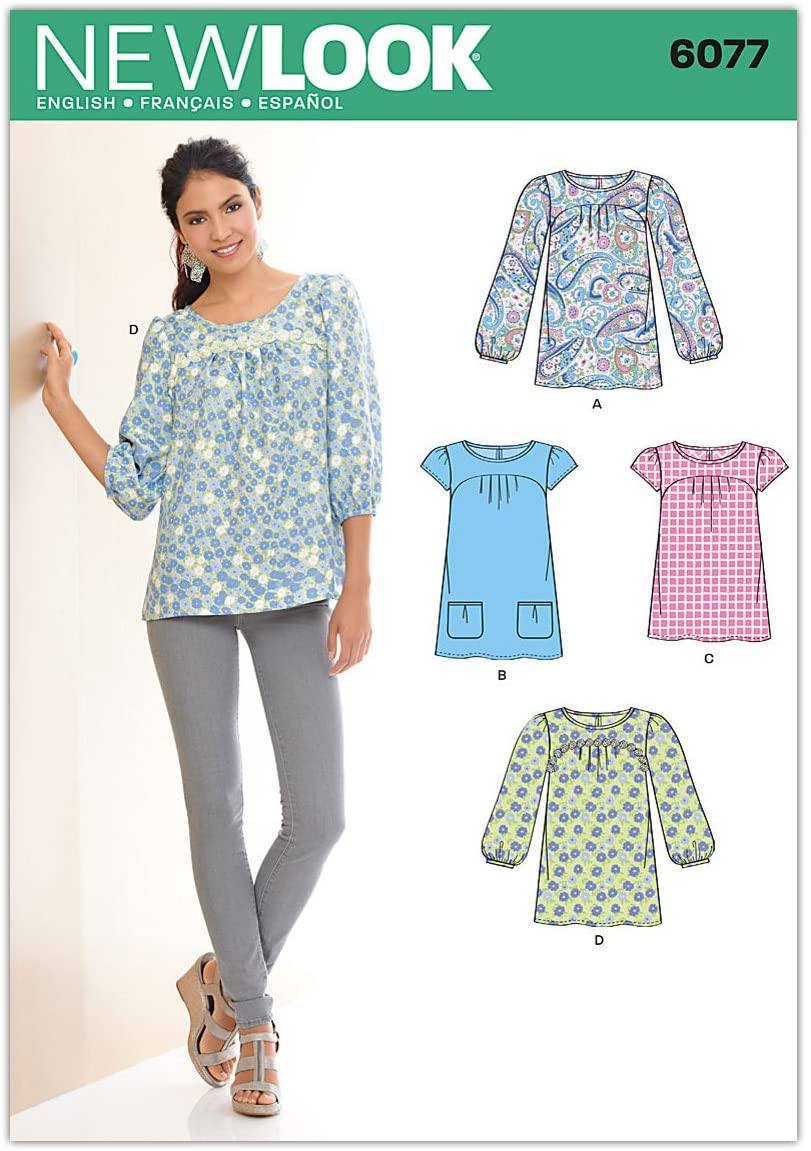 New Look Sewing Pattern 6077 Misses Tops, Size-A