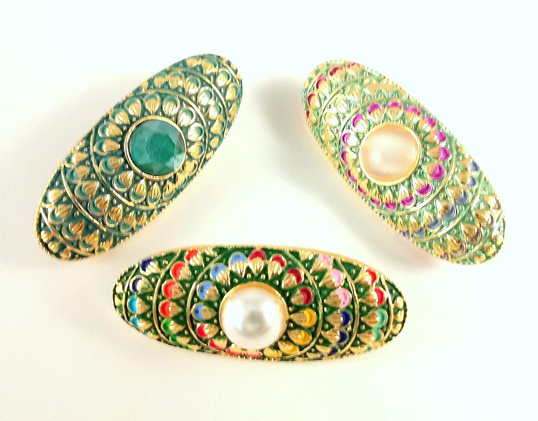 Sarvam Decorative Safety Pins Saree Pins Brooch Hijab Pin Set of 3