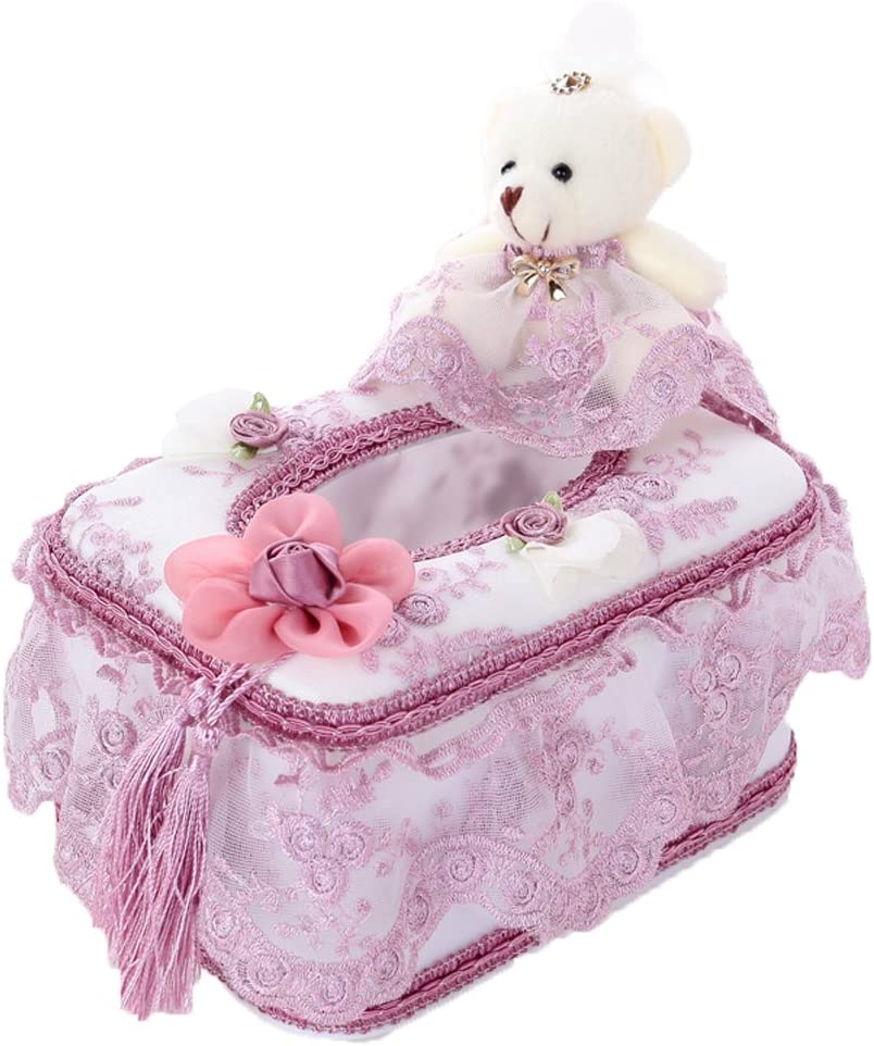 Gardening Spring Lovely Bear Creative Cloth Lace Tissue Carton(free Size:6.3*4.3*3.7) (Purple)