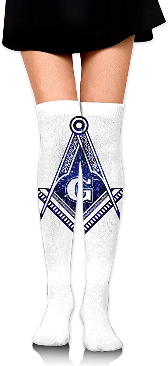 Knee High Socks Freemason Graffiti Women's Athletic Over Thigh Long Stockings