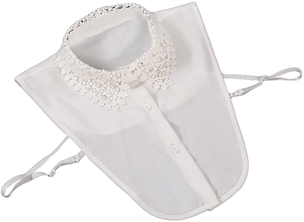 Vpang Stylish Detachable Half Shirt Blouse False Collar Lace Faux Pearls Hollow Out Chiffon Fake Collar Dickey Collar