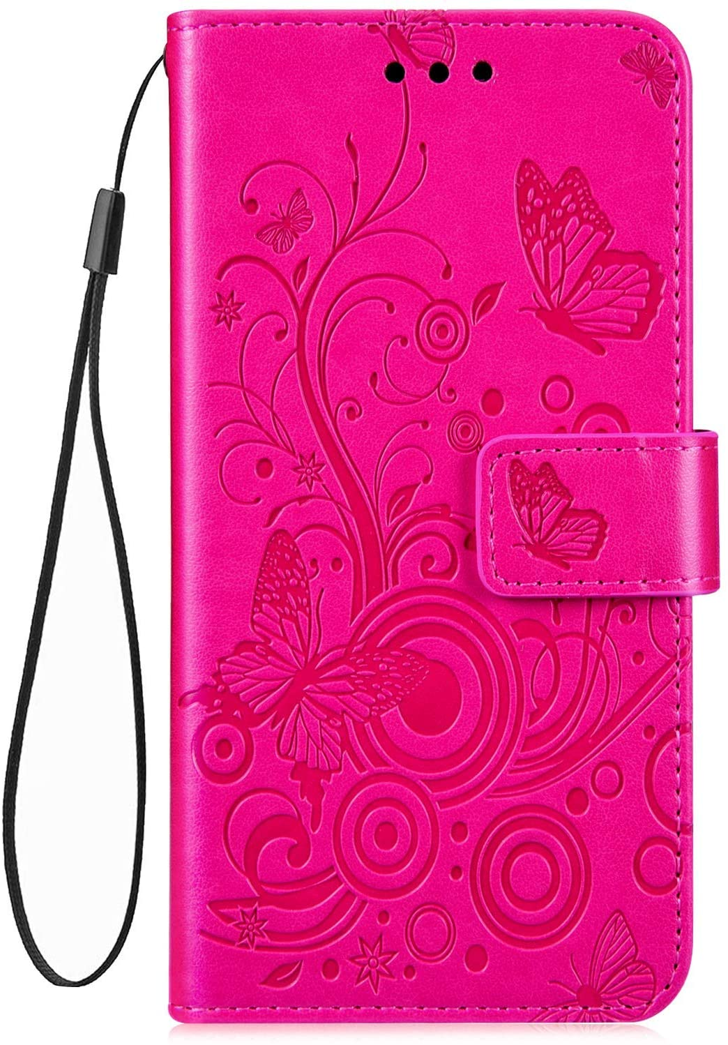 IKASEFU Compatible with iPhone 7 Plus/8 Plus butterfly Emboss blossom Floral Pu Leather Wallet Strap Case with Card Holder Magnetic Flip Cover Case,Rose Red