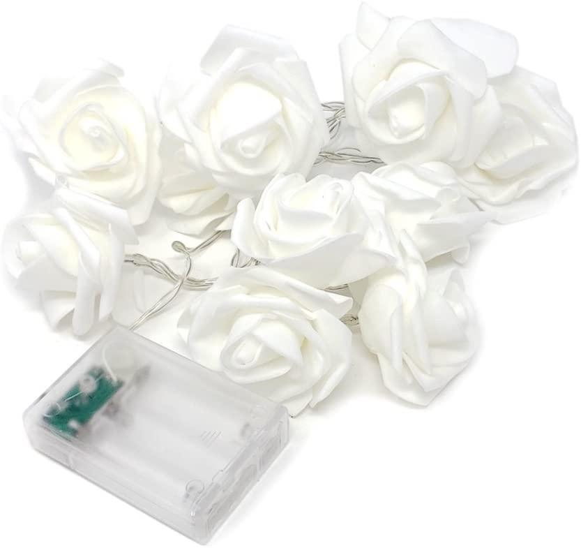 Homeford Rose String LED Lights, White, 72-Inch