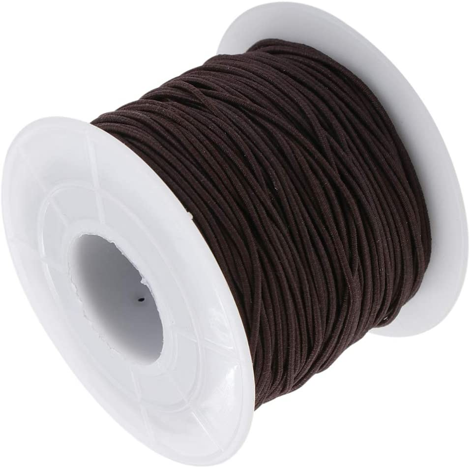 Holibanna 100M Elastic Cord Elastic String Stretchy Cord 1.2MM Elastic Band Elastic Rope Sewing Elastic Spool for Mouth Cover Jewelry Making(Coffee)
