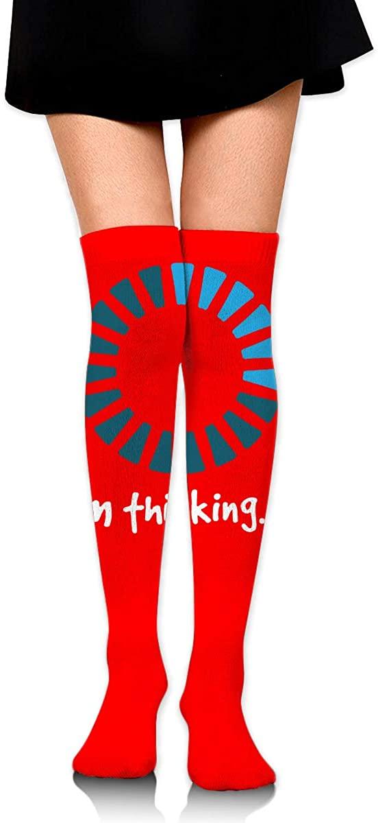 Knee High Socks I'm Thinking Women's Athletic Over Thigh Long Stockings