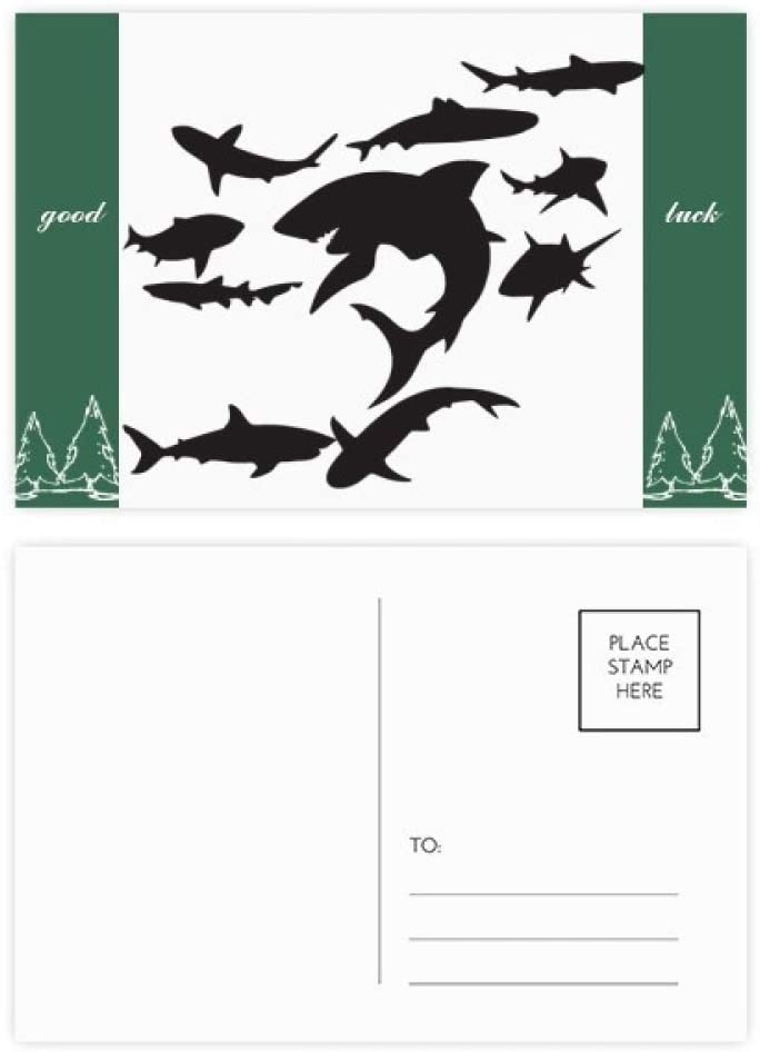 Blue Ocean Black Shark Biology Good Luck Postcard Set Card Mailing Side 20pcs