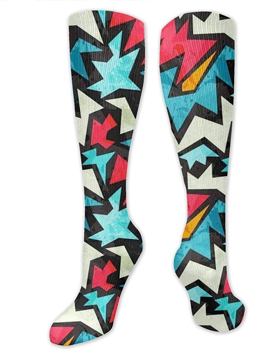 Knee High Socks For Men Women Street Graffiti Art Print Workout Hose Stockings