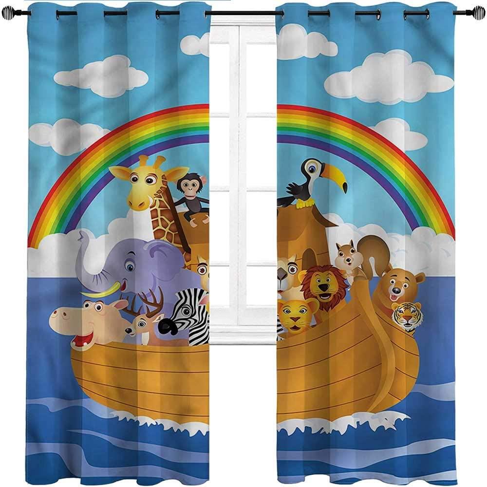 GugeABC Curtains for Sliding Glass Door Cartoon Grommet Drapes for Patio Pergola Porch Deck Childish Design Animals,Set of 2 Panels, 72 Width x 96 Length