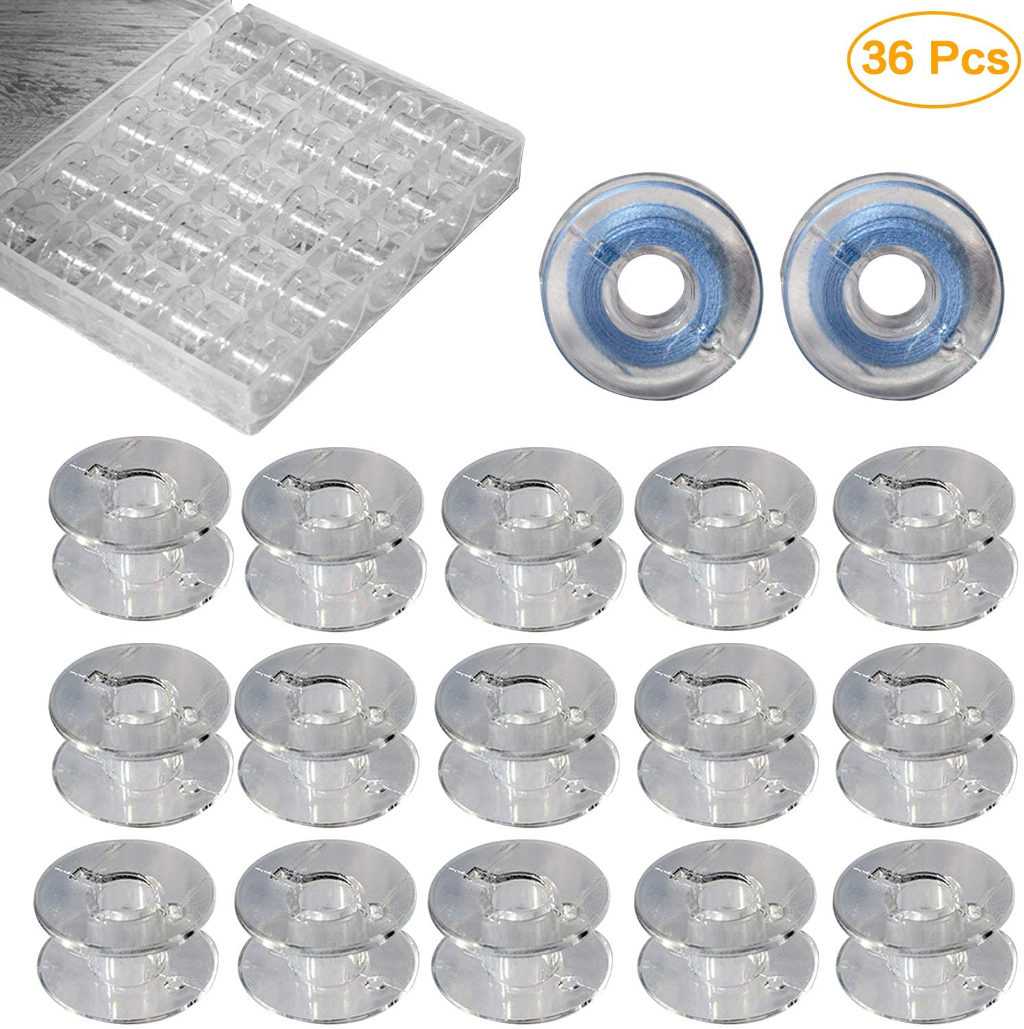 Vancool 36 Pcs Transparent Plastic Sewing Machine Bobbins with Case for Brother